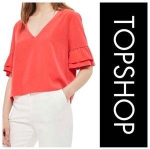 🆕 Topshop Ruffle Sleeve Tie Back Bow Top SZ 10